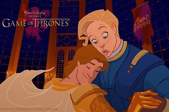 Game Of Thrones Gets The Disney Treatment & It's A Whole New World #refinery29  http://www.refinery29.com/2015/05/87064/game-of-thrones-disney#slide-4  Jaime and Brienne finally have the epic romance of a thousand Tumblr ships.