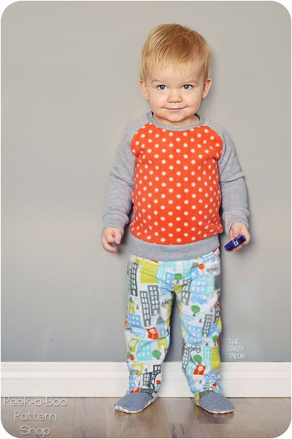 Happy Feet Pajamas Pattern: 2-piece footed by PeekabooPatternShop