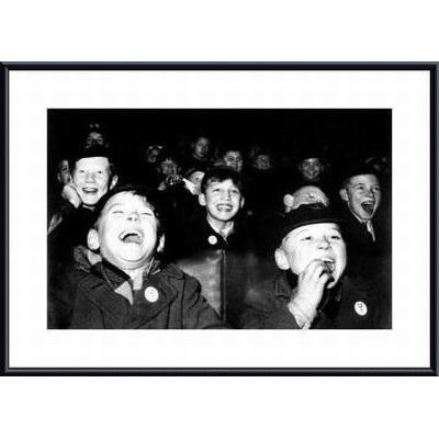 Printfinders Boys Laugh at Children's Movie Session by Paul Kaye Framed Photographic Print Frame Color: Black, Matte Color: White
