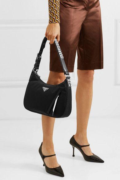 abe6226c2812 Prada | Vela studded leather-trimmed shell shoulder bag | NET-A-PORTER.COM