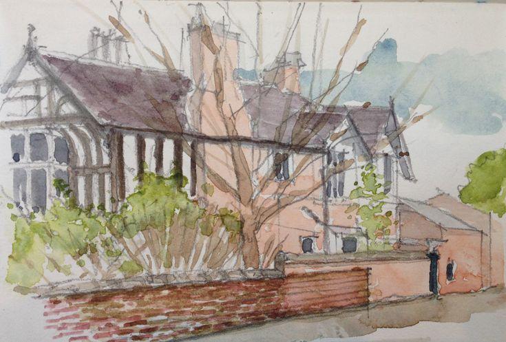 Watercolour house portrait Gatley Road Cheadle