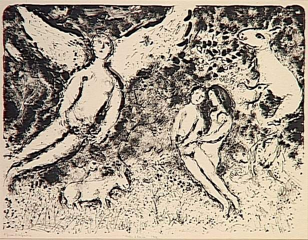 Darkness and Light (biblical symbols), 1972 by Marc Chagall. Naïve Art (Primitivism). symbolic painting. Musée national Message Biblique Marc Chagall, Nice, France