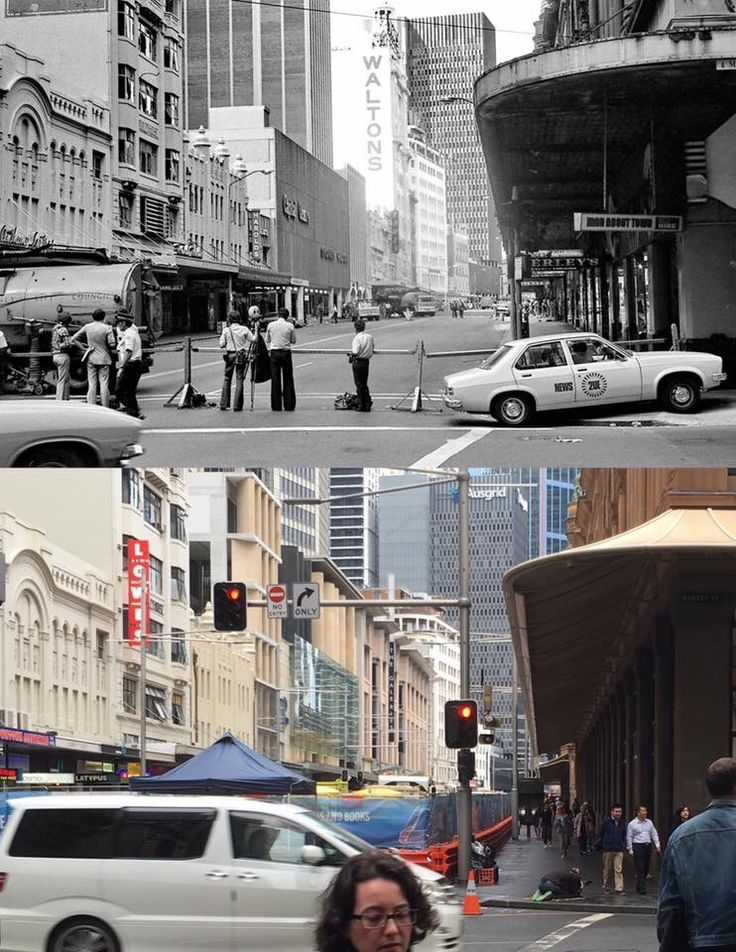 George Street, looking south from Market Street, blocked off on the day of the Hilton Hotel bombing, 13 February 1978 > 9 May 2016, with George Street blocked off for light rail construction. [Ramon Williams > Phil Harvey. By Phil Harvey]
