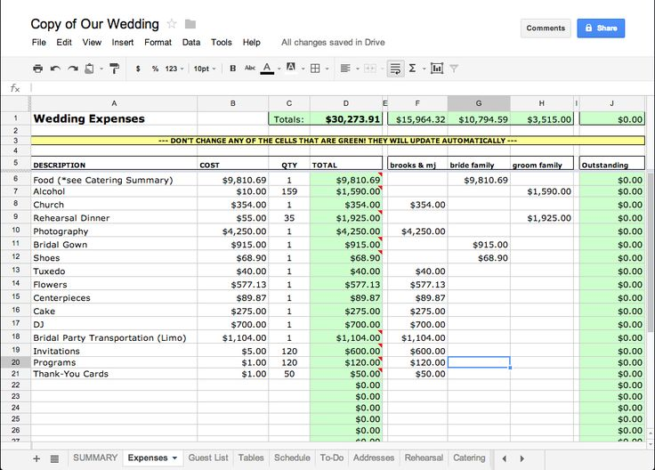 wedding spreadsheet tracking costs