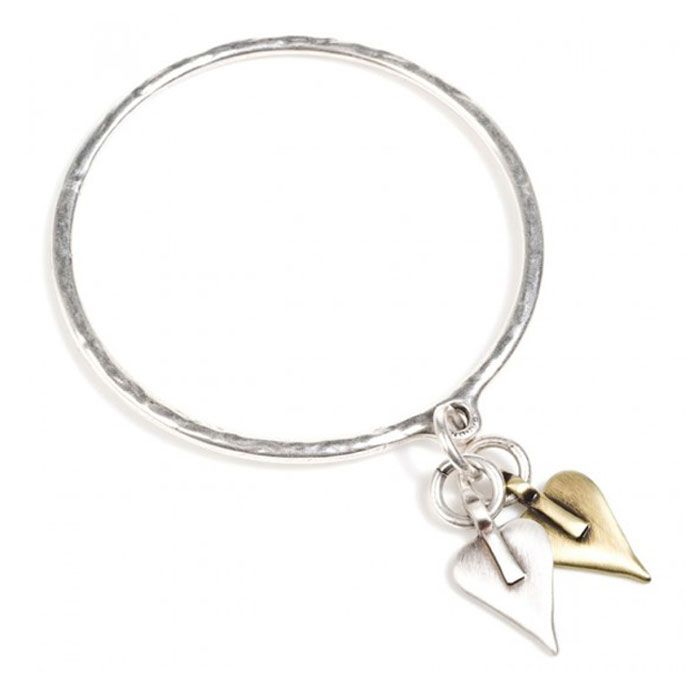 Danon Double Signature Heart Bangle Silver and Bronze. View here http://www.lizzielane.co.uk/shop/danon-double-signature-heart-bangle-silver-and-gold/ £26
