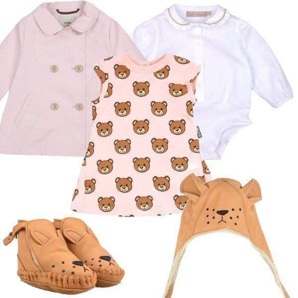 Per le bimbe che amano gli orsetti, propongo un vestito con chiusura sul retro, camicia con fondo a body, soprabito doppiopetto, scarpe in pelle con interno in pelo e cappello.