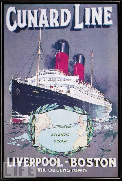 From Liverpool to Boston in Class (1912): Vintage Posters, Liverpool Boston, Picture-Black Posters, Oceanlin, Design Artists, Vintage Travel Posters, Cunard, A4 Glossy, Glossy Prints