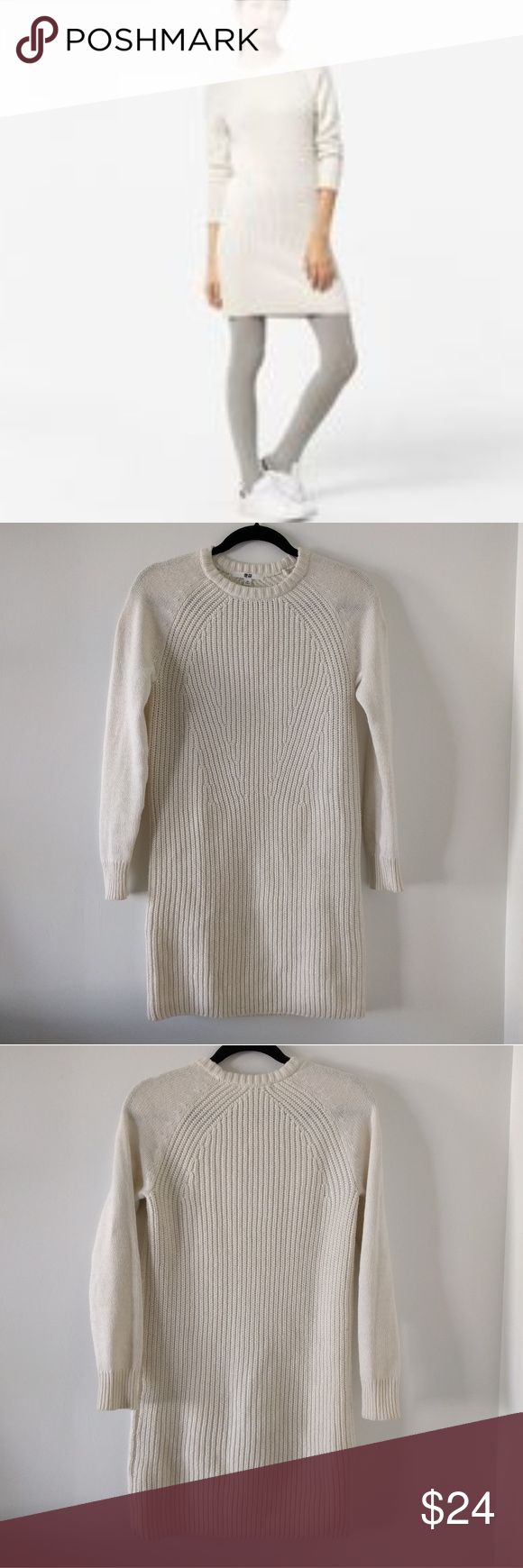 Uniqlo Heat Tech Cream Knit Sweater Dress Size XS Beautiful, soft and warm! The knit is all the same color but features raglan look sleeves. I'm pretty sure I only wore it once; no holes, stains or pilling. Looks great with brown, black or tan accessories and is the perfect canvas for accessorizing. edge it up with a Moto jacket or go extra comfy with a blanket scarf. Sorry, no trades. Uniqlo Dresses Long Sleeve