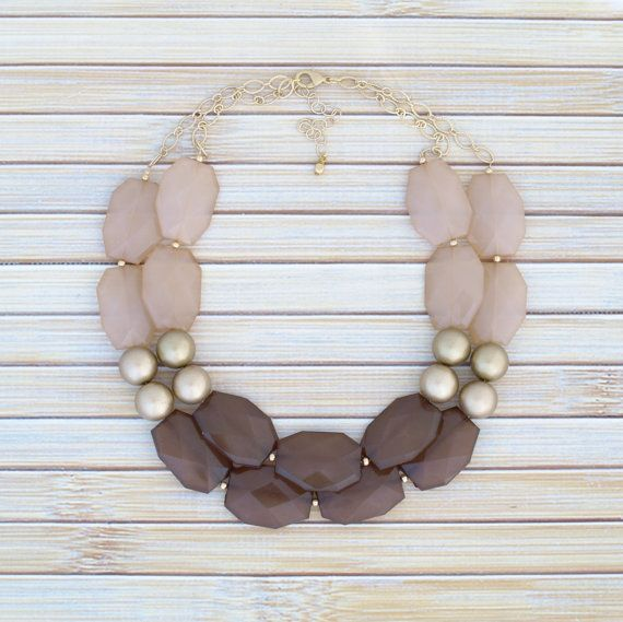 Earth Tones Statement Necklace Chunky Beaded by TheGoldenGardenia