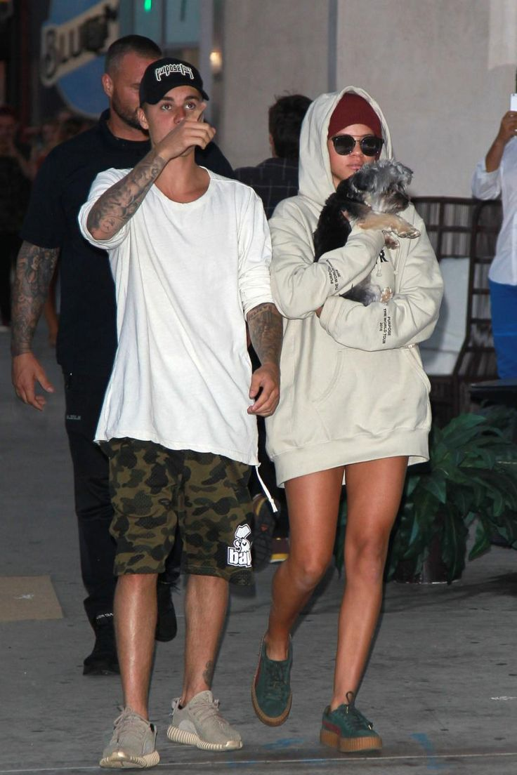 Justin Bieber Wearing Bape 1st Camo Mesh Shorts In Green Adidas Yeezy Boost 350 Oxford Tan And
