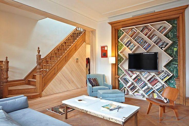 Красивые и необычные книжные полки в интерьере | 50 идей дизайна
