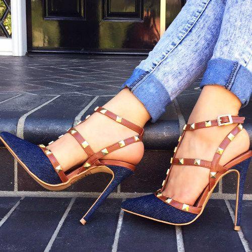 Hotness - Denim Pyramid Studded Heels