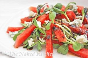 Watermelon and Sunflower Greens (or MicroGreens) Salad