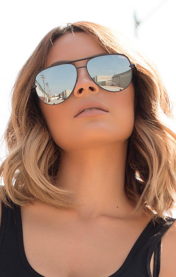 Quay Australia - X Desi Perkins Black High Key Aviator Designer Sunglasses