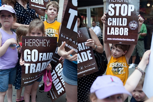 Protesting Hershey's child labor practices