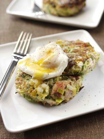 Leek and Pulled Ham Bubble and Squeak with a Poached Egg.