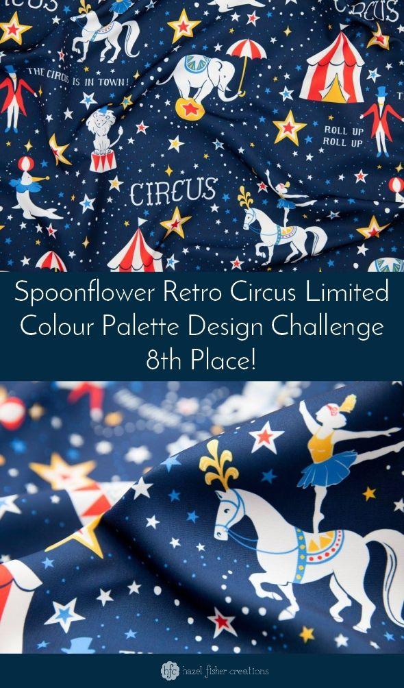 Retro Circus fabric design by Hazel Fisher Creations, Placed 8th in Spoonflower's design challenge