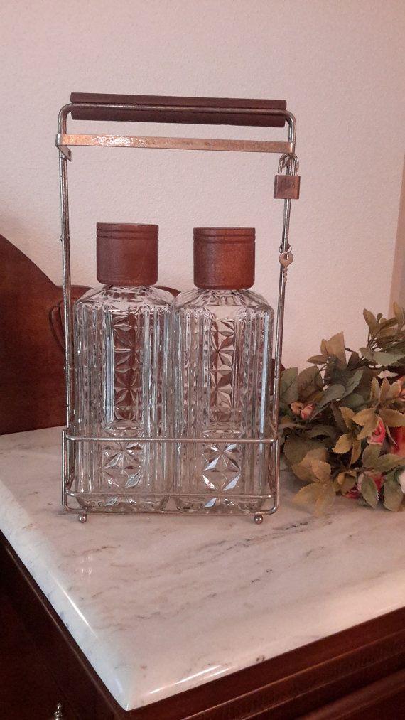 Vintage Liquor Bottles in Caddy Decanter Set in by OurVintageNest