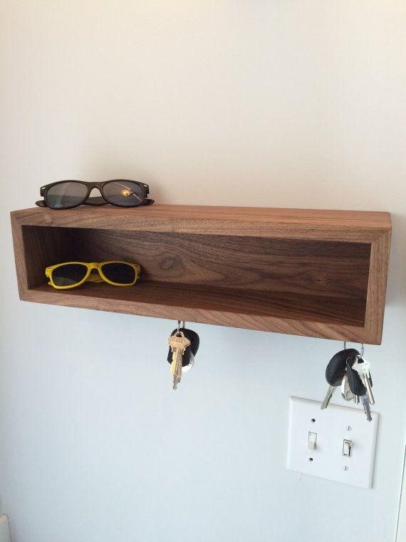 Drijvende plank / moderne portiek Wall Organizer met magnetische sleutel haken in de keuze van hardhout, halverwege de eeuw moderne stijl