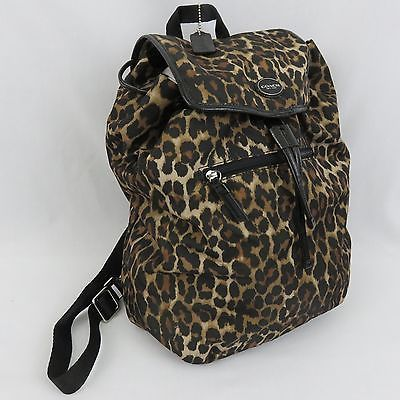 Coach Getaway Ocelot Leopard Animal Print Backpack Purse Drawstring F33311 NWOT