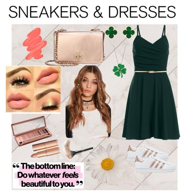 """go green"" by chechylmiliani on Polyvore featuring Tory Burch, Van Cleef & Arpels, Obsessive Compulsive Cosmetics, Urban Decay and adidas Originals"