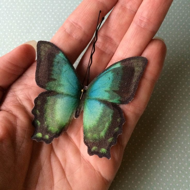 Soft - Handmade Bio Cotton and Silk Organza Teal Butterflies Hair Bobby Pin - 1 piece by TheButterfliesShop on Etsy https://www.etsy.com/listing/197757612/soft-handmade-bio-cotton-and-silk