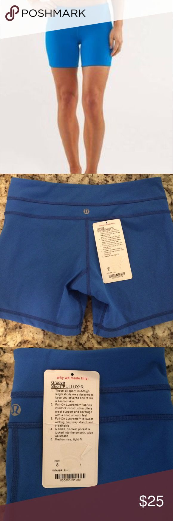 LIKE NEW! w/tag lululemon groove short*Fullux*R, 8 Worn only 2x washed gentle hung dry. These are in perfect condition. Blue color size 8 full lux groove shorts like new! smoke free home lululemon athletica Shorts