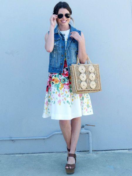 Floral Dress With Denim Vest   LookMazing
