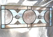 Vintage Stained Glass Valance 1930s Pink Depression Glass Stained Glass Plate