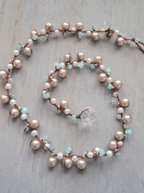 Pettirossi uovo di vetro a mano perla collana annodata