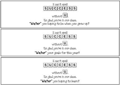 Back to school activities: Back to school gifts: FREE labels for water bottles: I can't spell success without U. Healthy & inexpensive back to school gift.