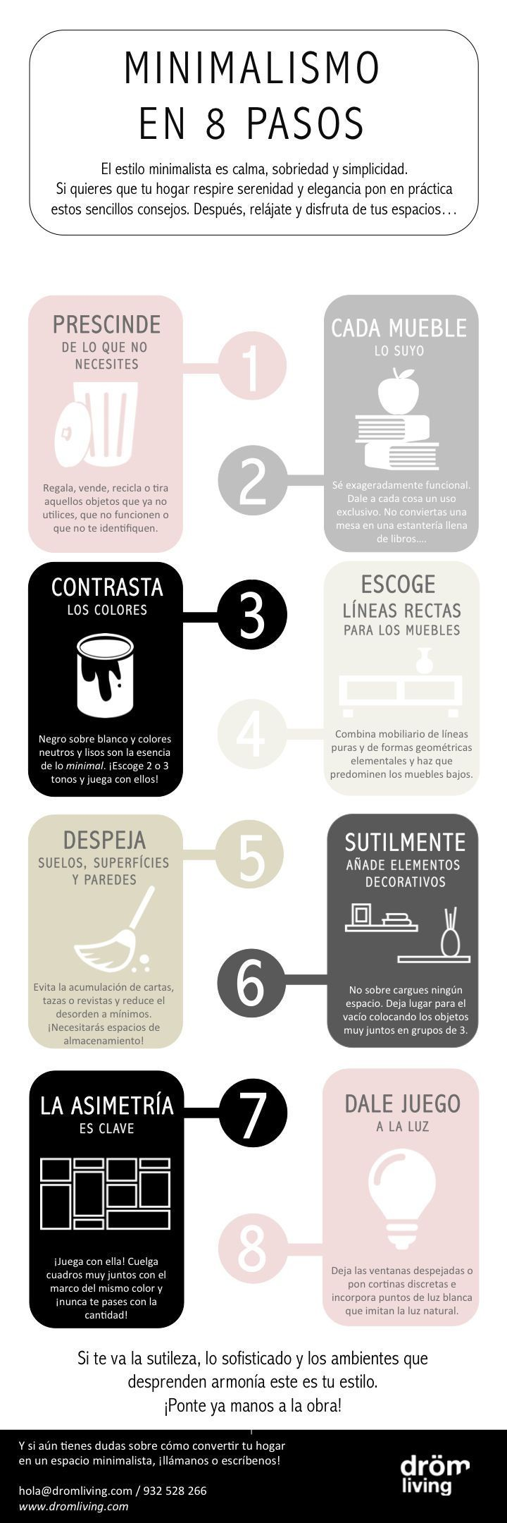 Cómo conseguir una decoración minimalista en 8 sencillos pasos, buenos tips para decorar tu oficina en casa. #homedecor #decoration #decoración #interiores