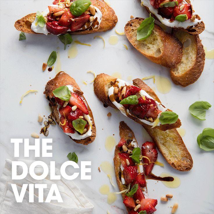 The Dolce vita #yogurt #greek #organic #pinenut #strawberry #basil #lemon #balsamic #recipe #appetizer #summer