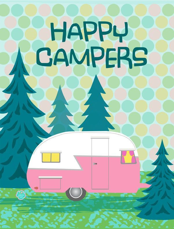 Caroline's Treasures Happy Campers Glamping Trailer 2-Sided Garden Flag