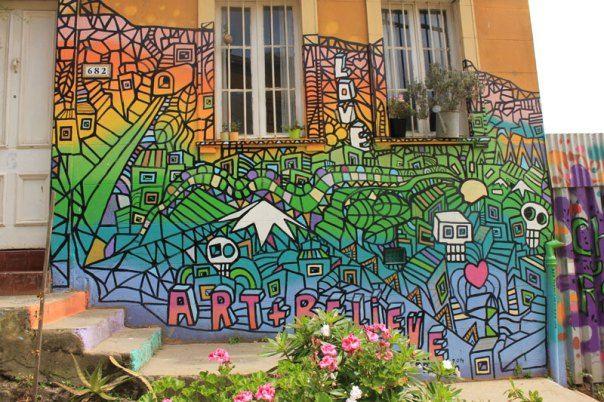 #Impulseearth #Valparaiso #Chile #Graffiti #Street Art #Face #Painting #Creativity #Rainbow #Colours #Wall #Decoration #Zentangle