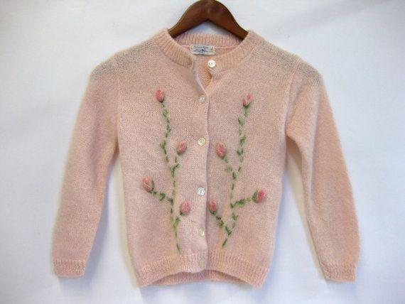 Vintage Baby Pink Floral Embroidered Ballerina Sweater
