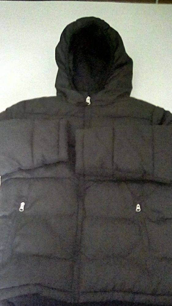 d294e3ed37ed Faded Glory Winter Hooded Black Puffer Coat Kids Boys Girls Size 6 7 ...