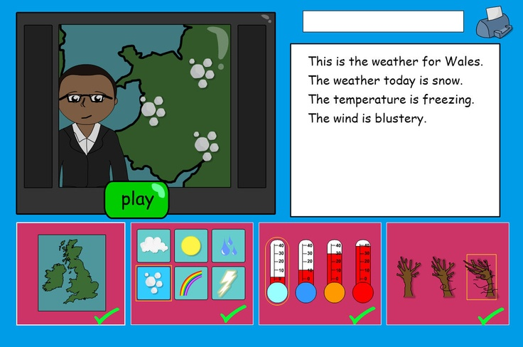 Write a weather report for your area and hear it narrate back.    Clicking the map and weather icons along the bottom of the screen will change both the script and the weather reporter's map, depending on the icons selected.    Once all items are included in the script, pressing PLAY will narrate back the Weather Report.    The script can be printed out and the pupils could pretend to read from this, in a pretend TV studio. A great chance to get that school video camera out!!