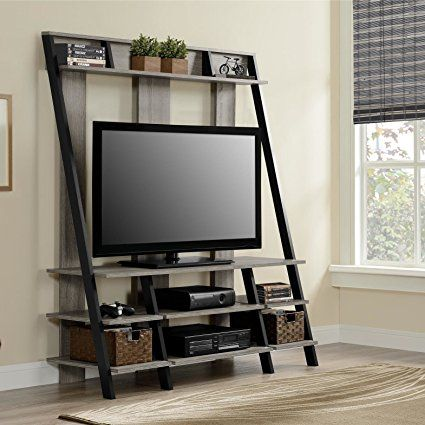 Modern Geometric Entertainment Center with Contemporary Design Upper and Lower Storage Shelfs in Modern Rusty Black Plus FREE GIFT