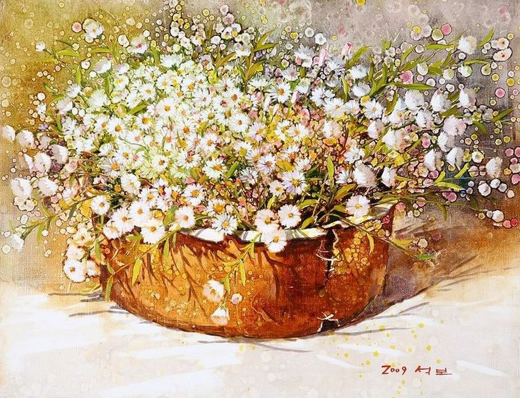 Корейский художник Yi Seong-bu. Натюрморт с цветами. Картина двенадцатая