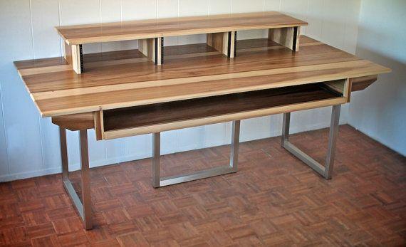 Minimalist Recording Studio Desk Wood Steel by MonkandSons