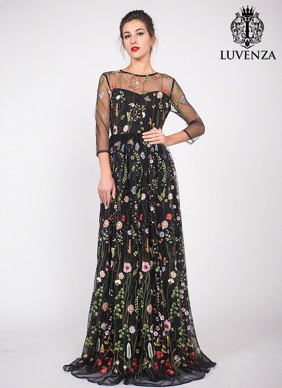 da5d617294 Three Quarter Sleeve Floral Embroidered Tulle Evening Gown - Black Floral  Lace Prom Dress-Embroidere