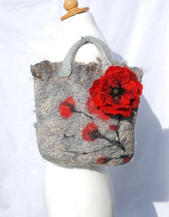 Felted bag felt bag felted wool purse   nuno felt red by AnnaWegg