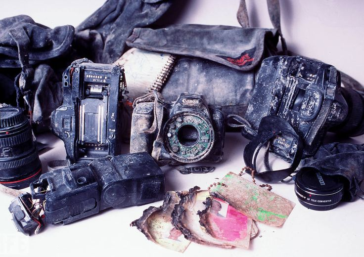 This photo is of the discovered equipment of Bill Biggart, a photojournalist who lost his life on 9/11.