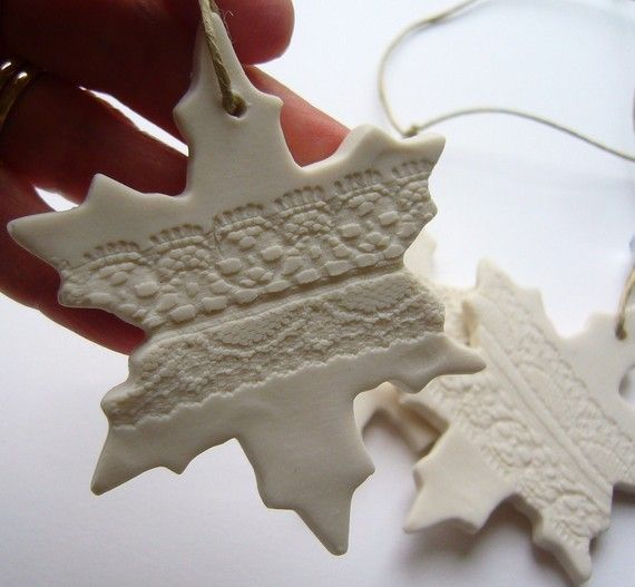 Lovely lace ornaments. This would also work great with paper clay, ceramic clay, fimo or sculpey