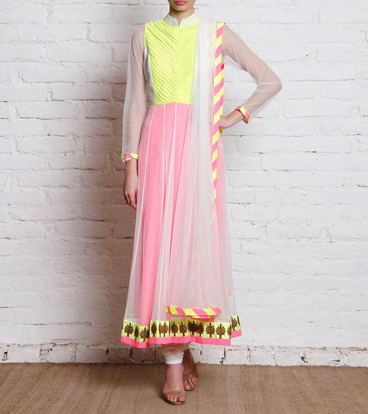 Multicoloured Neon Net Anarkali Suit