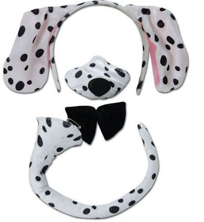 dog ears and tail costumes | Home / Dalmation Ears Nose And Tail Set For Kids Spotty Dog or Adults