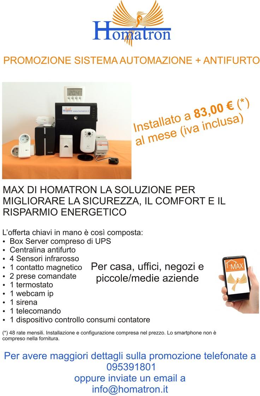 MAX di Homatron a 83€ al mese iva inclusa