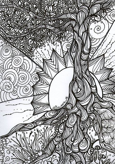 American Hippie Art Coloring Page Tree Of Life Zentangle