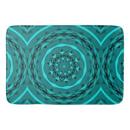 #Kaleidoscope Designed Bathmat in Teal - #Bathroom #Accessories #home #living
